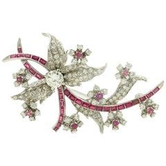 Ruby Diamond Floral Flower Leaf Spray White Gold Brooch Pin