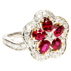 Ruby Diamond Flower 18 Karat White Gold Cluster Cocktail Ring