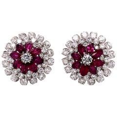 Ruby Diamond Flower Earclips in Platinum 950