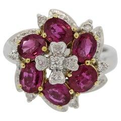 Ruby Diamond Flower Gold Ring