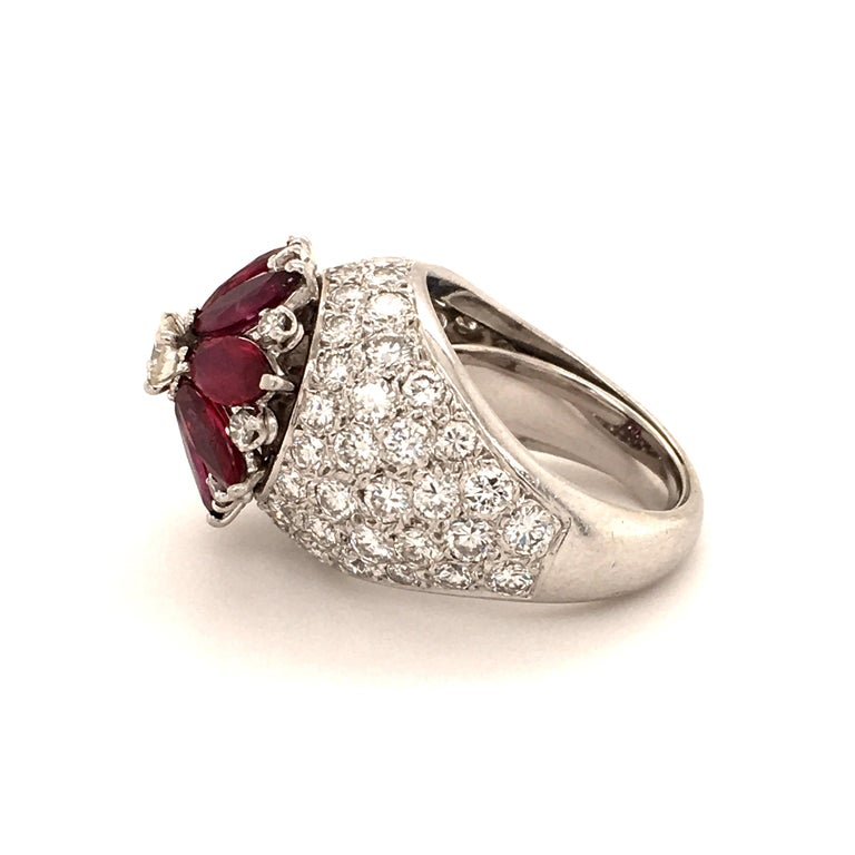 Modern Ruby Diamond Flower Ring in Platinum 950 For Sale