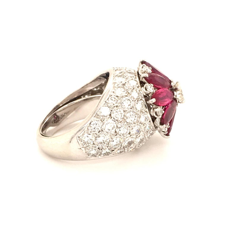 Marquise Cut Ruby Diamond Flower Ring in Platinum 950 For Sale