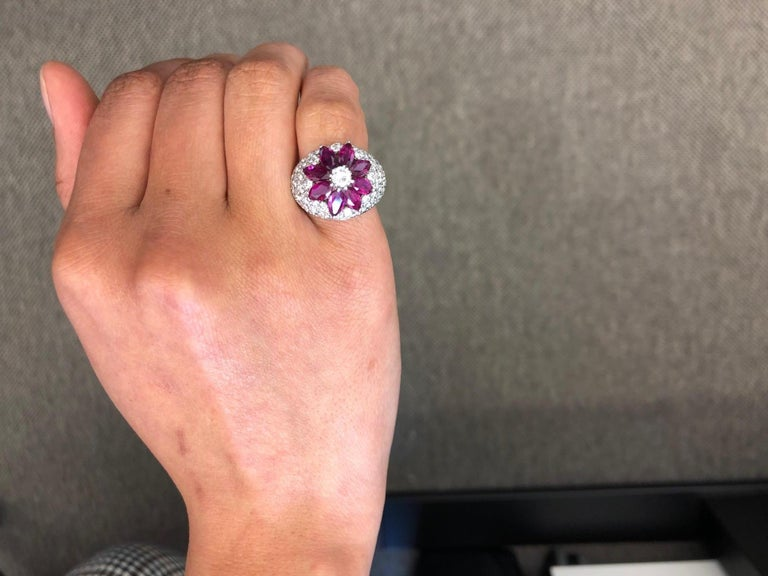Women's or Men's Ruby Diamond Flower Ring in Platinum 950 For Sale