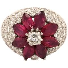 Ruby Diamond Flower Ring in Platinum 950