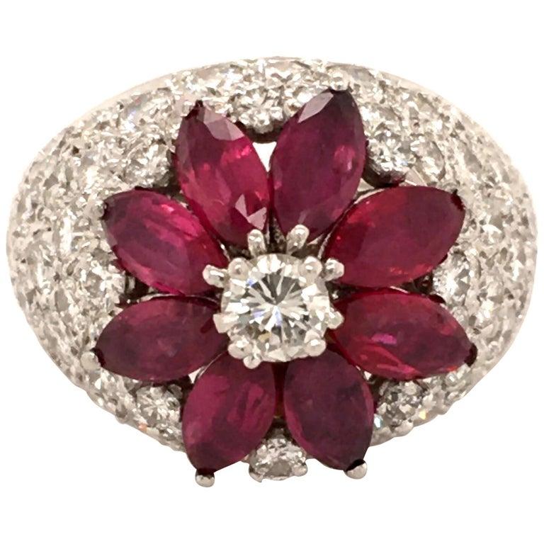 Ruby Diamond Flower Ring in Platinum 950 For Sale