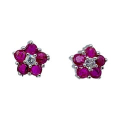 Ruby Diamond Forget Me Not Flower Earrings 14 Karat White Gold