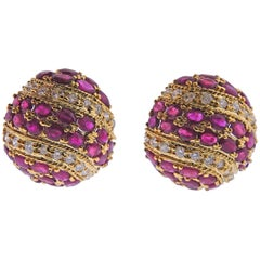 Ruby Diamond Gold Bombe Large Earrings