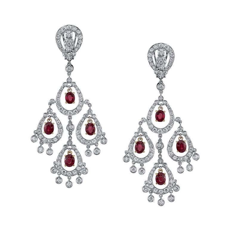 Red Diamond Chandelier Earrings: Ruby Diamond Gold Chandelier Earrings For Sale At 1stdibs