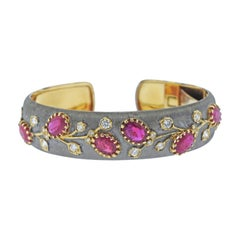 Ruby Diamond Gold Cuff Bracelet