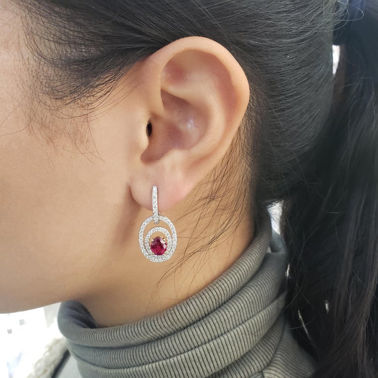 Contemporary Ruby Diamond Gold Dangle Earrings For Sale