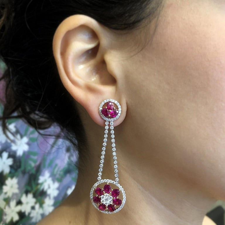 Women's Ruby Diamond Gold Flower Cluster Flexible Dangle Earrings For Sale