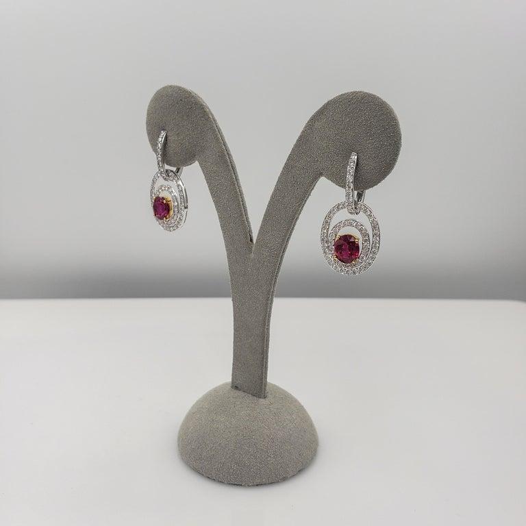 Women's Ruby Diamond Gold Dangle Earrings For Sale
