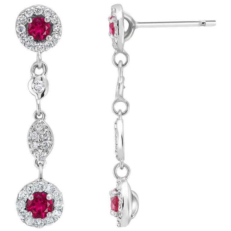 Ruby Diamond Gold One Inch Long Drop Earrings Weighing 1.90 Carat For Sale