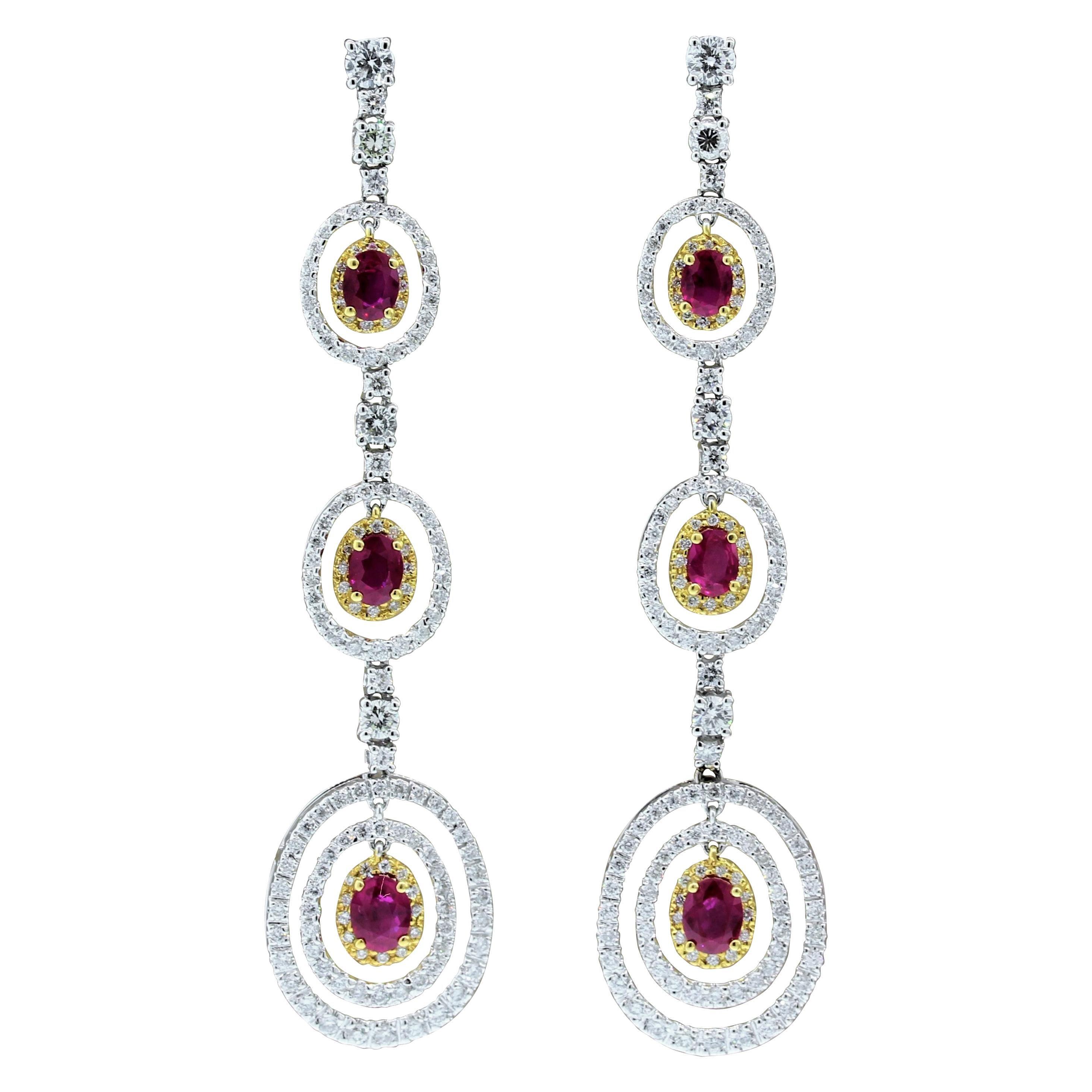 Ruby Diamond Gold Drop Earrings