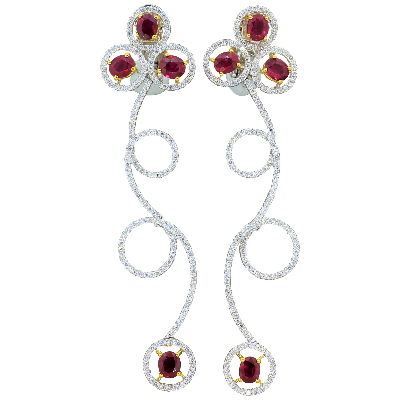 Ruby Diamond Gold Drop Spiral Earrings