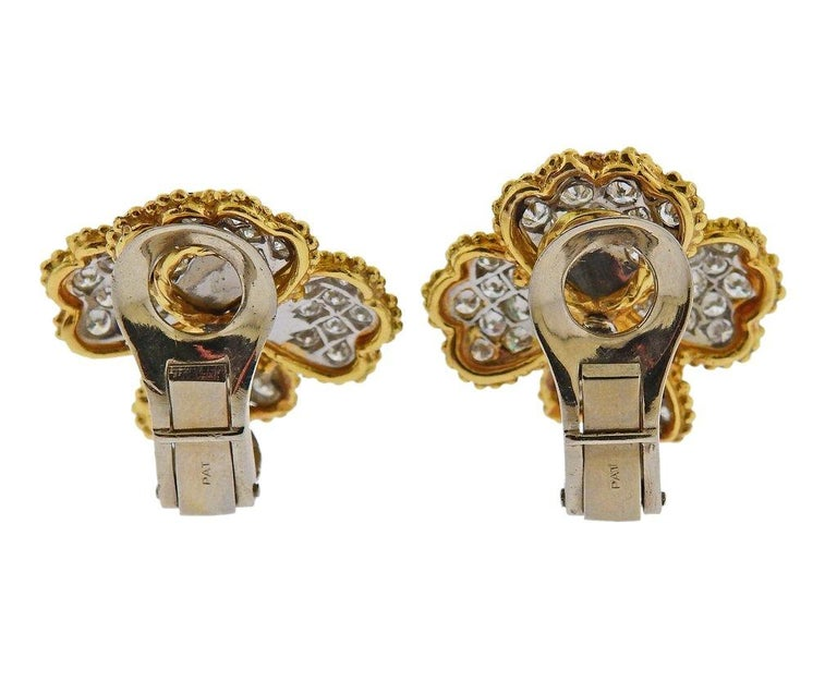 Mid Century Ruby Emerald Sapphire Diamond Gold Platinum Earrings In Excellent Condition For Sale In Lahaska, PA