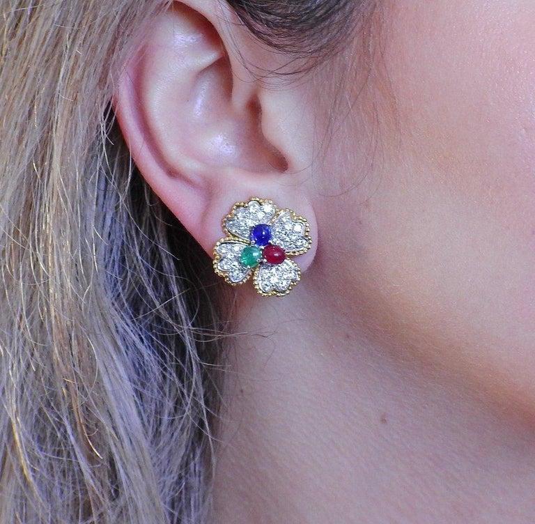 Women's or Men's Mid Century Ruby Emerald Sapphire Diamond Gold Platinum Earrings For Sale