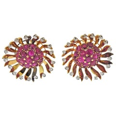 Ruby Diamond Gold Large Earrings