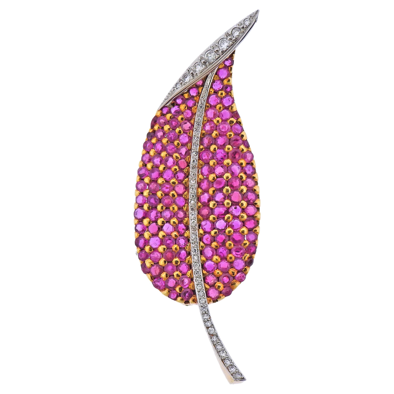 Ruby Diamond Gold Leaf Brooch Pin