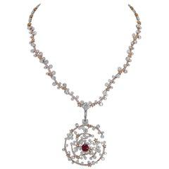 Ruby Diamond Gold Pendant Necklace