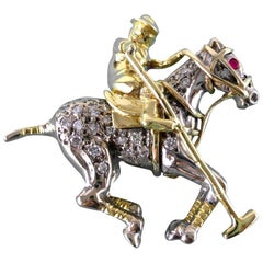 Ruby Diamond Gold Polo Player Brooch, circa 1960