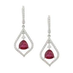 Ruby Diamond Gold Silhouette Drop Earrings