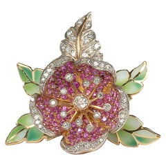 Ruby Diamond Gold Silver and Plique à Jour Enamel Flower Broooch