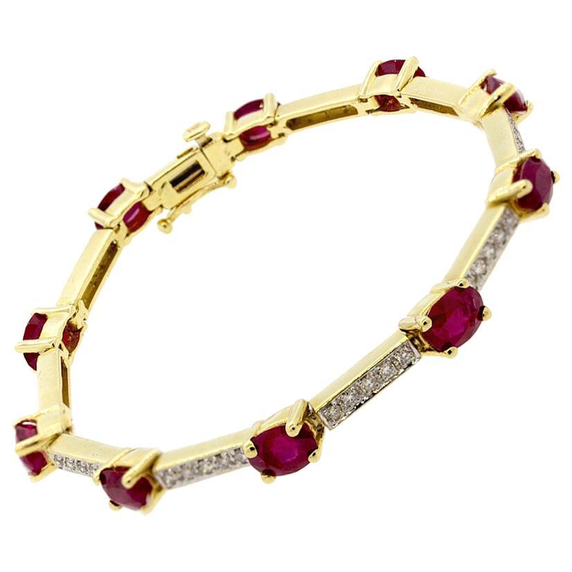 Ruby Diamond Gold Tennis Bracelet