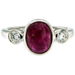 Ruby Diamond Gold Three-Stone Ring