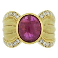 Ruby Diamond Gold Wide-Band Ring