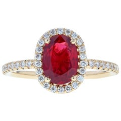 Ruby Diamond Halo Engagement Ring in Yellow Gold