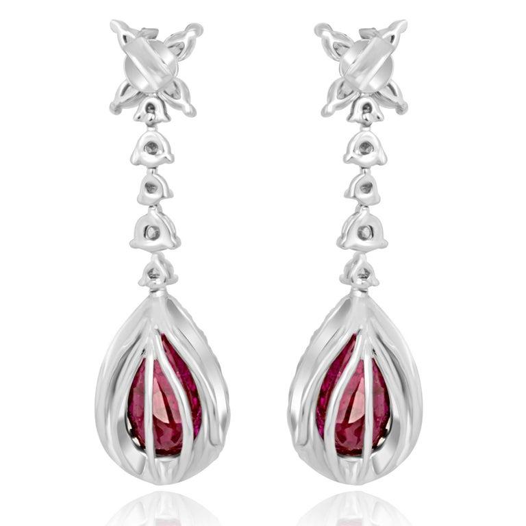 Pear Cut Ruby Diamond Halo Gold Dangle Drop Earrings For Sale
