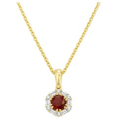 Ruby Diamond Halo Gold Drop Pendant Chain Necklace