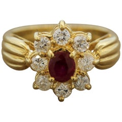 Ruby Diamond-Halo Gold Flower Ring