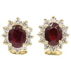 Ruby Diamond Halo Stud Earrings 3.84 Carat Gold 14 Karat