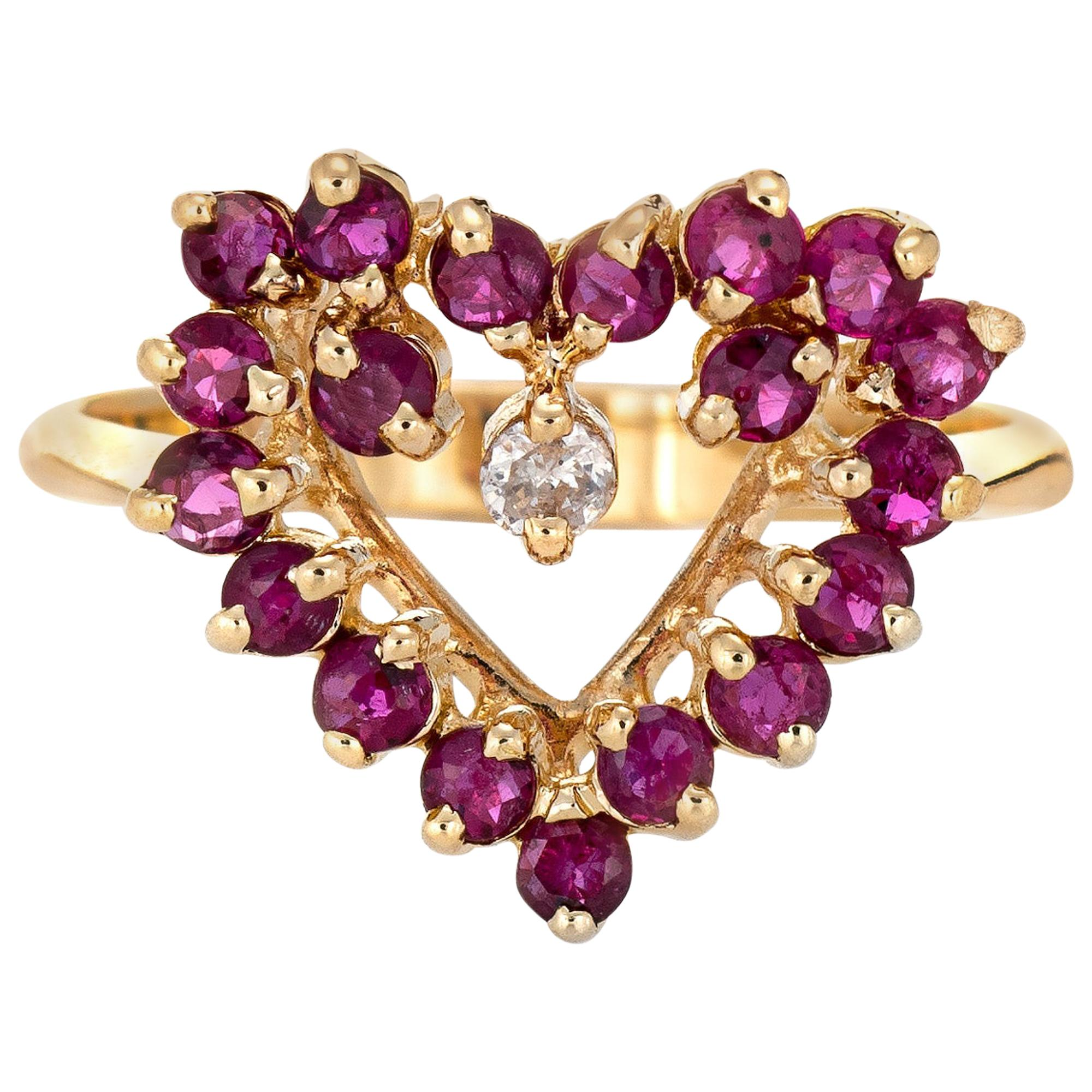 Ruby Diamond Heart Pinky Ring Vintage 14 Karat Yellow Gold Estate Fine Jewelry