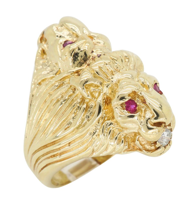 Ruby and Diamond Lion's Head Men's Ring In Good Condition In Webster, NY