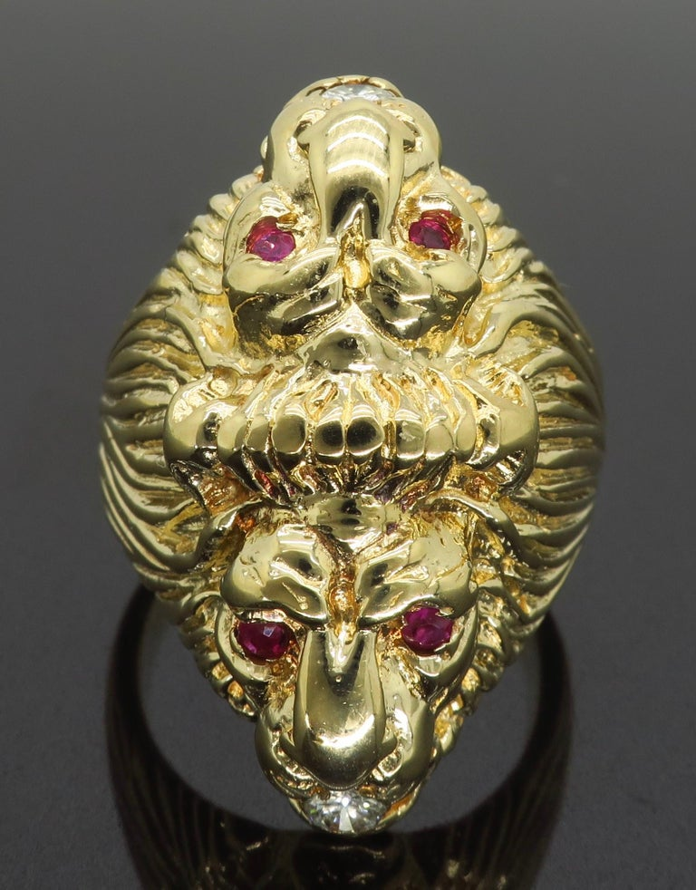 Ruby and Diamond Lion's Head Men's Ring 1