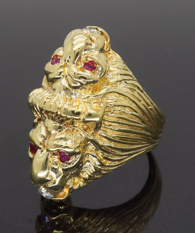Ruby and Diamond Lion's Head Men's Ring 2