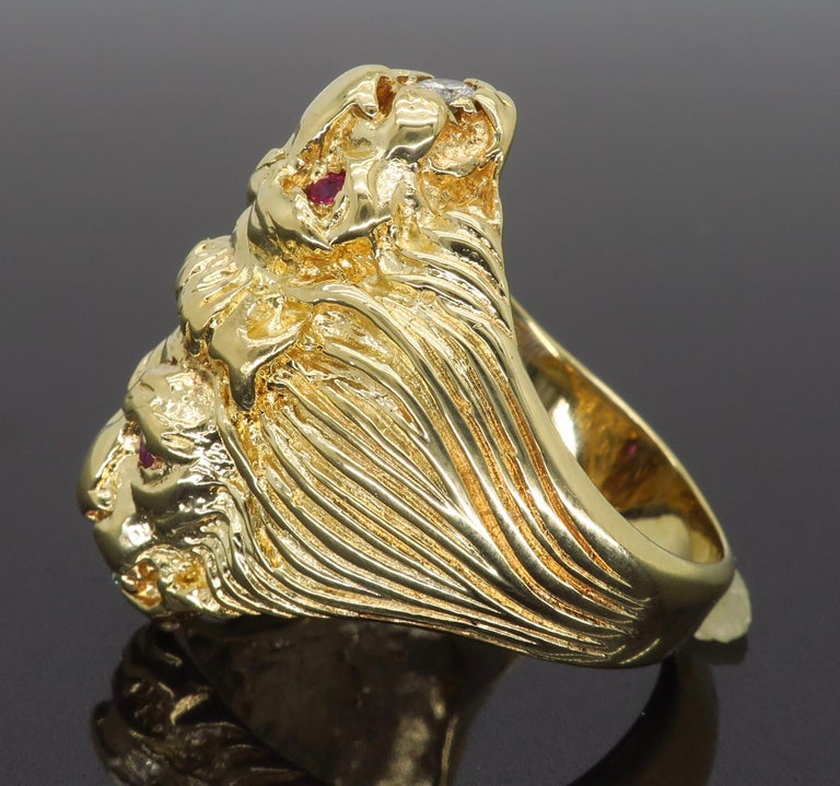 Ruby and Diamond Lion's Head Men's Ring 3