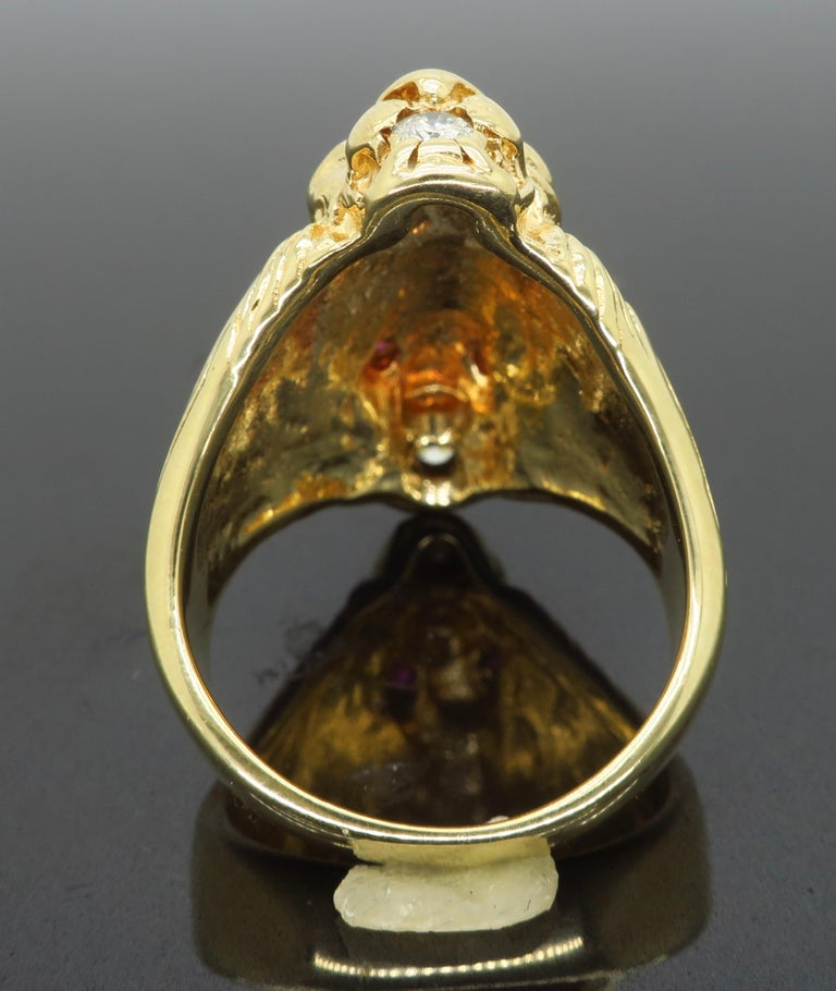 Ruby and Diamond Lion's Head Men's Ring 4