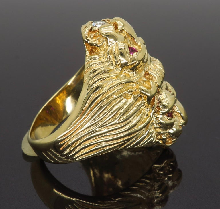 Ruby and Diamond Lion's Head Men's Ring 5