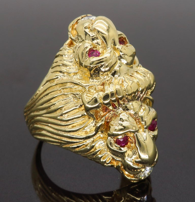 Ruby and Diamond Lion's Head Men's Ring 6