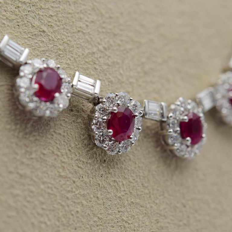 Oval Cut Ruby and Diamond Luxurious Estate Platinum Necklace with 9.60 Carat of Rubies For Sale