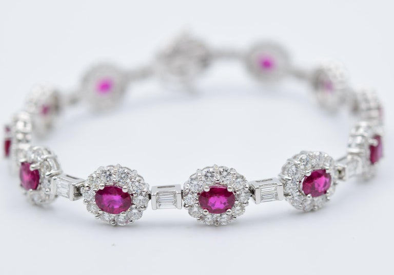 Oval Cut Ruby and Diamond Luxurious Platinum Bracelet with 3.60 Carat of Rubies For Sale