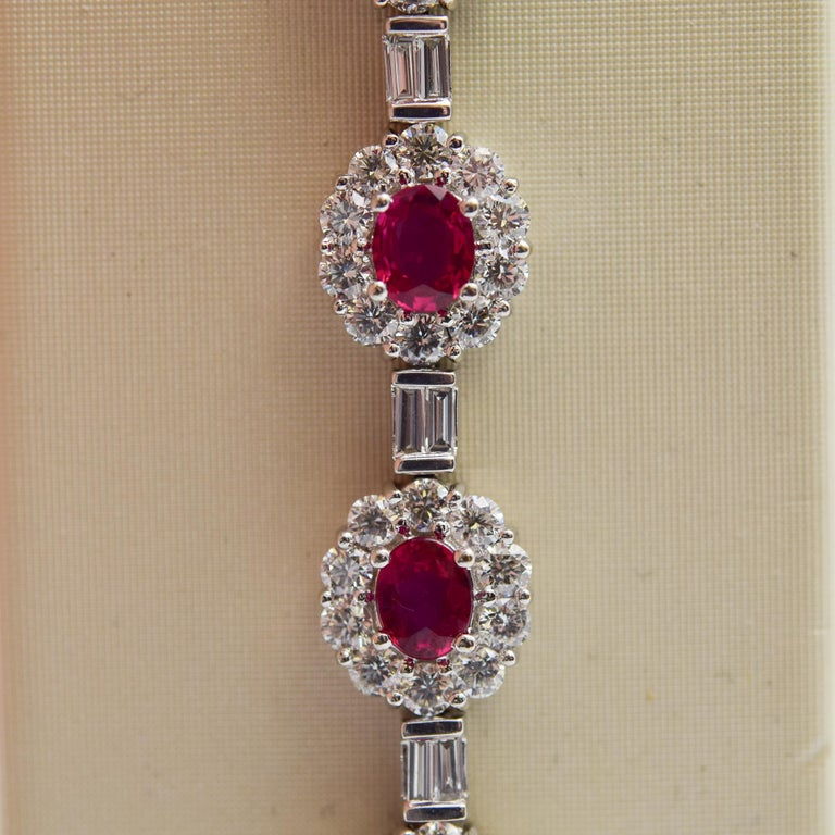 Women's Ruby and Diamond Luxurious Platinum Bracelet with 3.60 Carat of Rubies For Sale