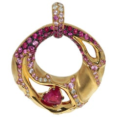 Ruby Diamond Pink Sapphire 18 Karat Yellow Gold Heart Beat Pendant