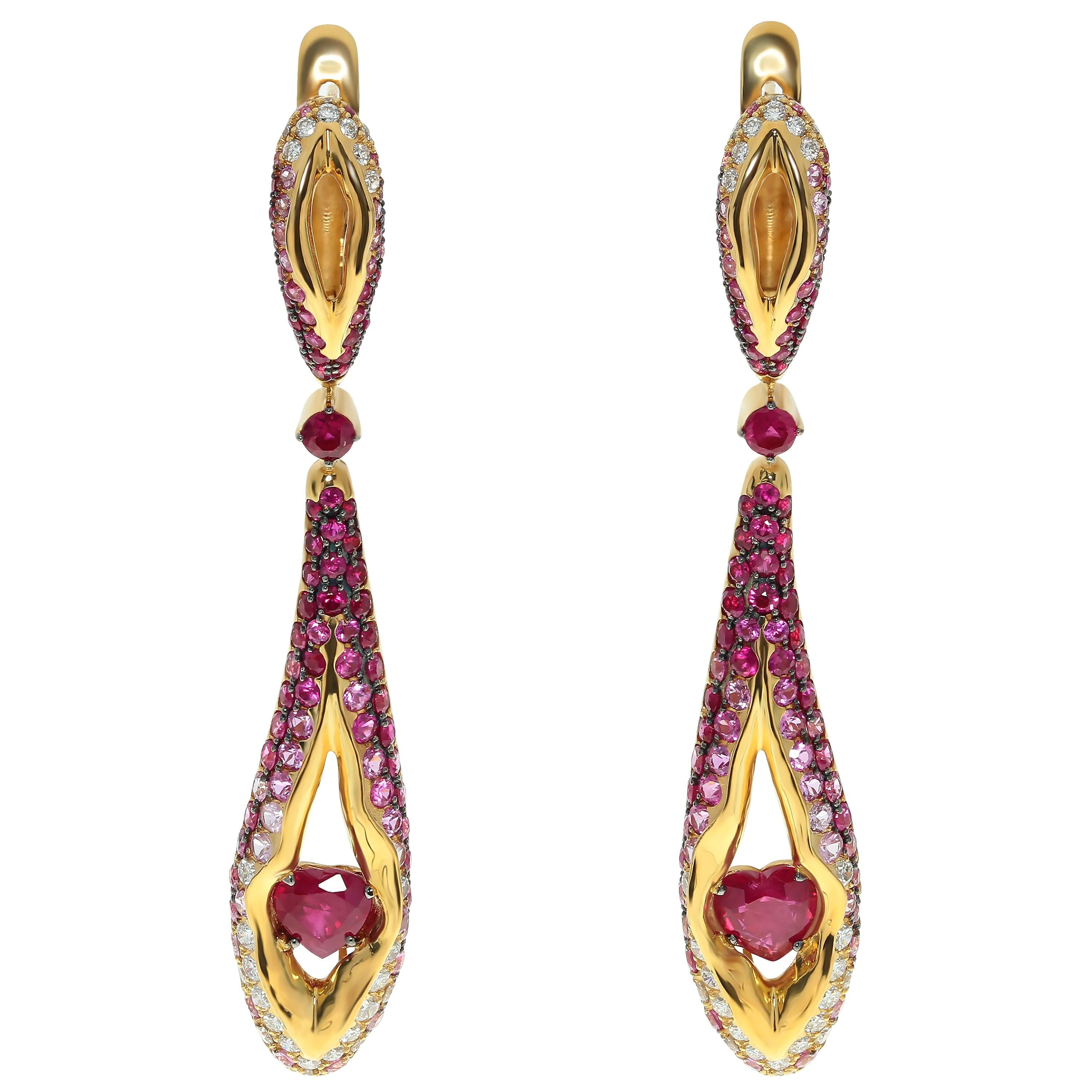 Ruby Diamond Pink Sapphire 18 Karat Yellow Gold HeartBeat Earrings