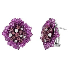 Ruby Diamond Pink Sapphire Precious White Gold Earrings