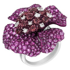 Ruby Diamond Pink Sapphire Precious White Gold Ring